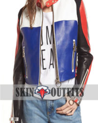 COLORBLOCK LEATHER MOTO JACKET