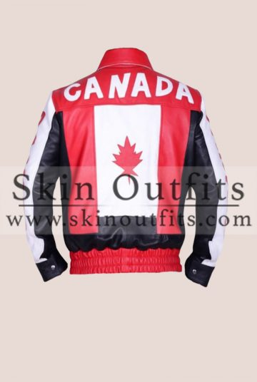 Canadian Flag Biker Bomber Jacket