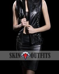 Collarless Sexy Body Black Vest