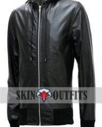 Men's Black Bomber Leather Jacket with Hoodie