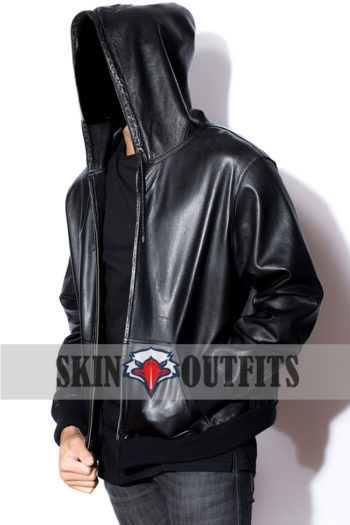 Men's New Style Leather Hoodie.