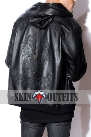 Men's New Style Leather Hoodie..