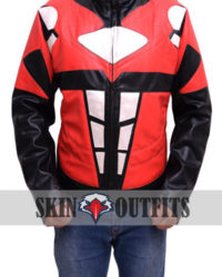 Power Rangers Superhero Costume Mighty Red Leather Jacket
