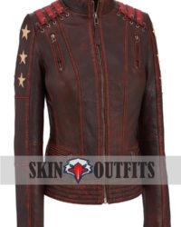 Women Rivet Cafe Racer Star Leather Jacket