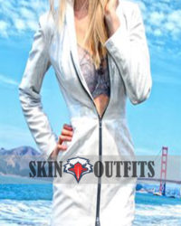 Women's Fashion White Zipper Coat Jacket
