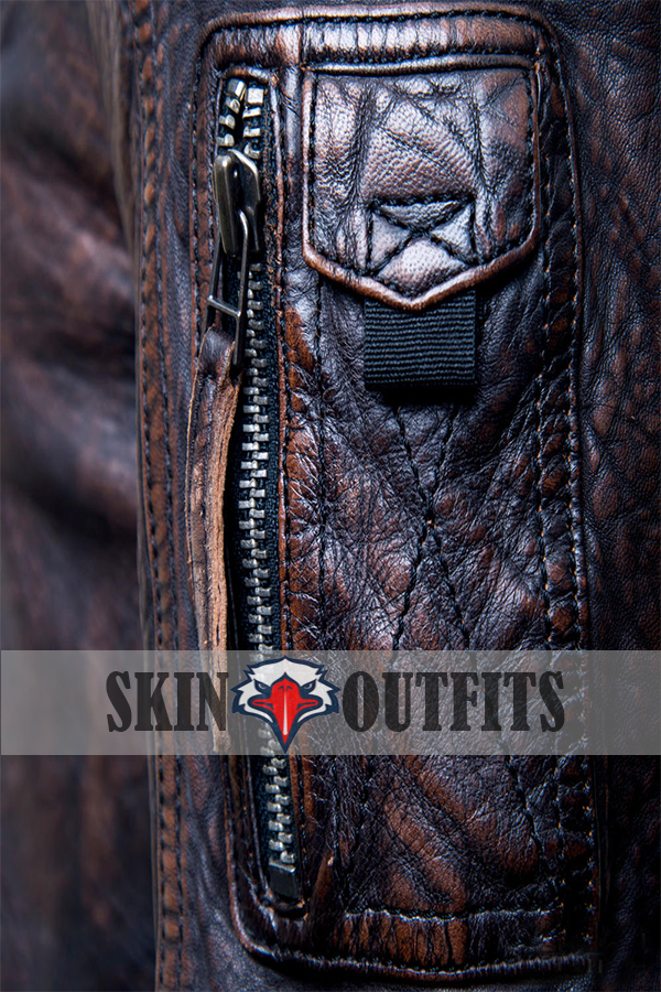 Justice League Fur Collar Brown Bomber Leather Jacket....