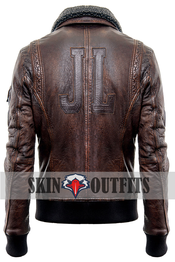 Justice League Fur Collar Brown Bomber Leather Jacket.