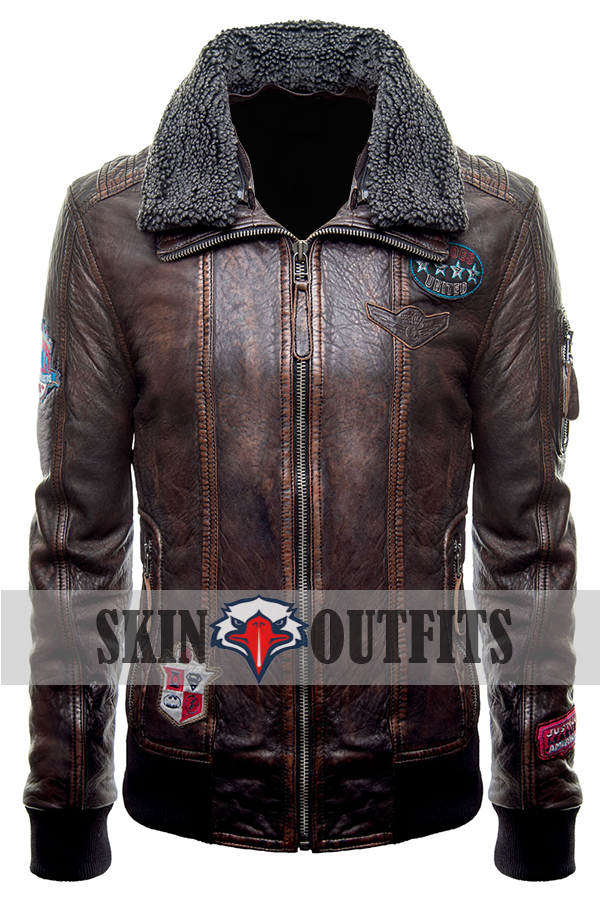 Justice League Fur Collar Brown Bomber Leather Jacket