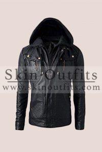 Black Bomber Hooded Leather Jacket