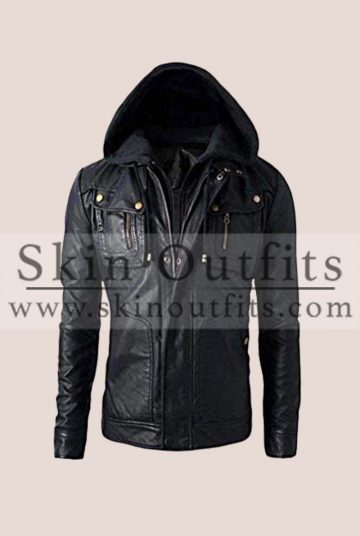 leather jacket with hood