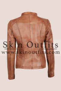 Rachel Women's Comfort Fitted Brown Cognac Leather Jacket Back