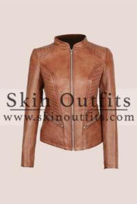 Rachel Women's Comfort Fitted Brown Cognac Leather Jacket Front